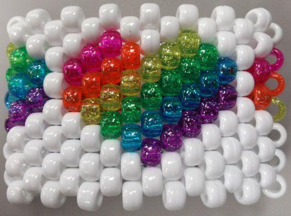 Kandi Pony Beads And Rave: Rave Rainbow Glitter Heart Kandi Cuff By Kandirella7 On