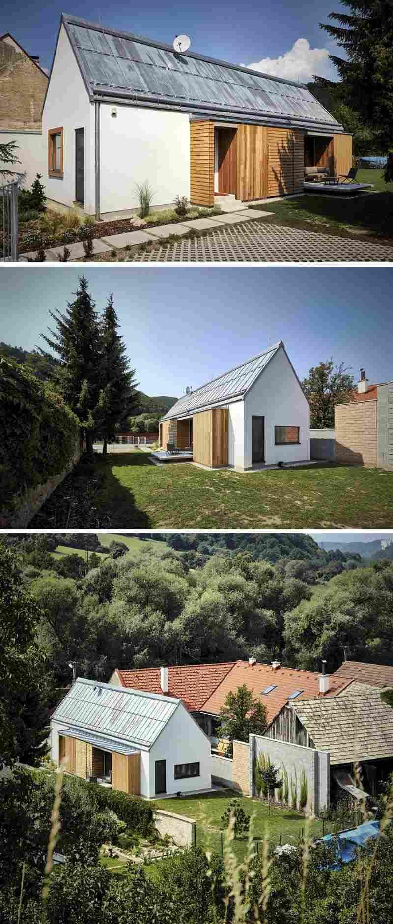 façade de maison design en blanc neige, portes extérieures en bois ...
