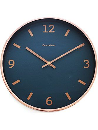 Luxury Modern 12 Silent Non Ticking Wall Clock With Rose Gold Frame Blue Shore Arospa Rose Gold Kitchen Blue Wall Clocks Navy And Copper