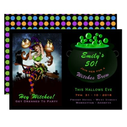 50th Birthday Halloween Witches Party Invitations
