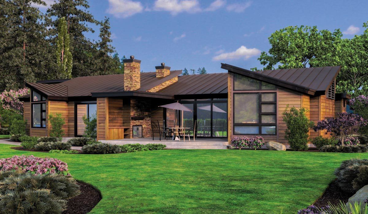 Plan 69402AM: Single Story Contemporary House Plan ...