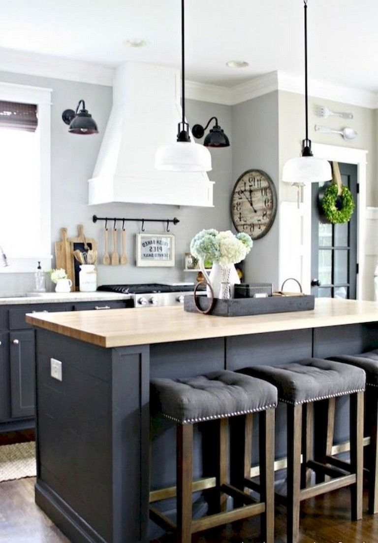 50 Amazing Modern Farmhouse Kitchen Cabinets Decor Ideas Kitchen Island Decor Modern Farmhouse Kitchens Rustic Kitchen