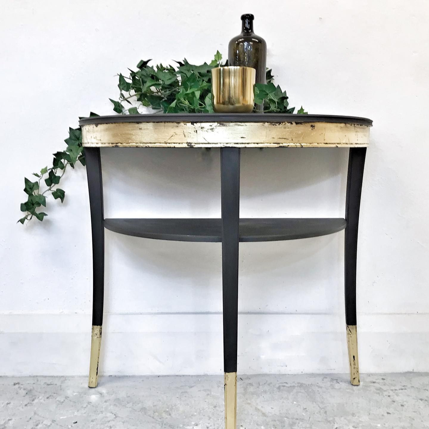 Legate Furniture Hand Painted Half Moon Console Table With Shelf In Graphite And Gold Leaf Numonday In 2020 Half Moon Console Table Console Table Decorating Decor