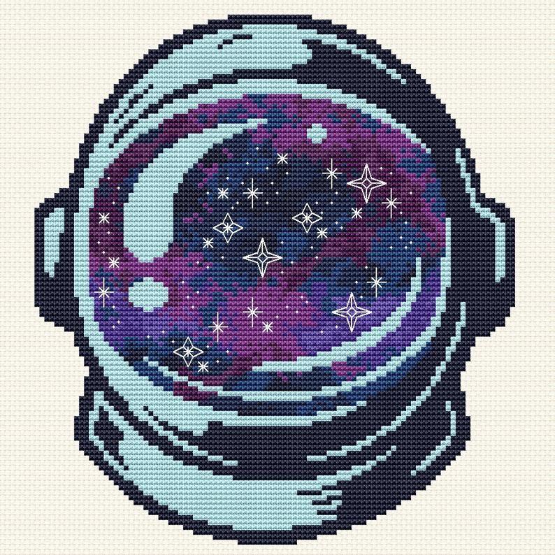 Photo of Astronaut cross stitch pattern Space cross stitch Galaxy Cosmonaut cross stitch Boy's room cross stitch Spaceman Helmet Counted Cross Stitch
