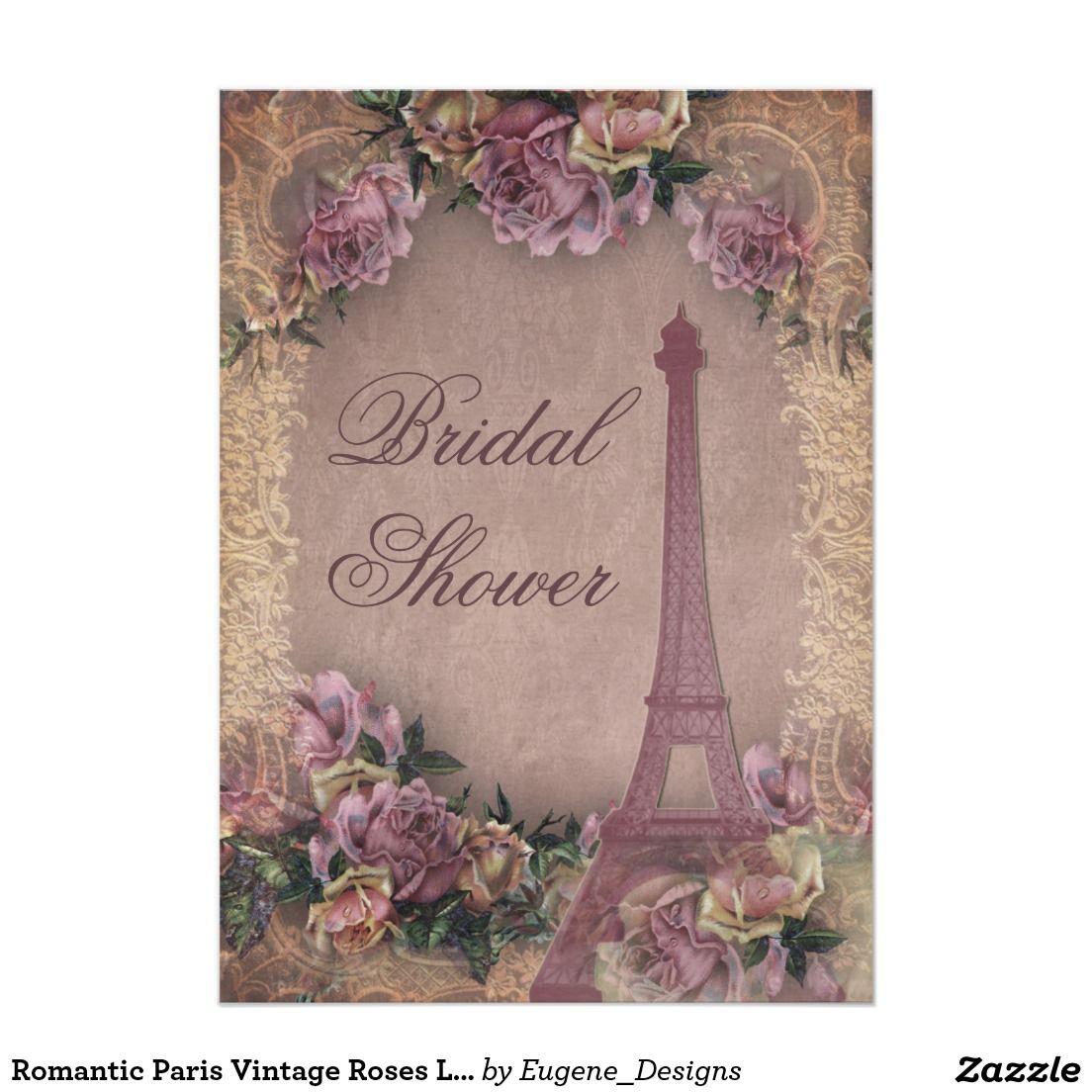 Romantic Paris Vintage Roses Lace Bridal Shower 5x7 Paper Invitation Card