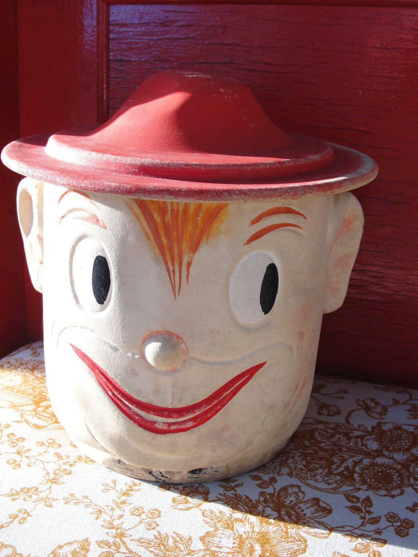 Vintage Elf Cookie Jar, Pixie Head Figural Cookie Jar with