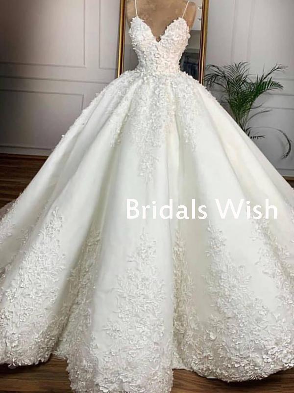 Photo of Pretty Spaghetti Strap Lace Applique Ball Grown Wedding Dress EW0137