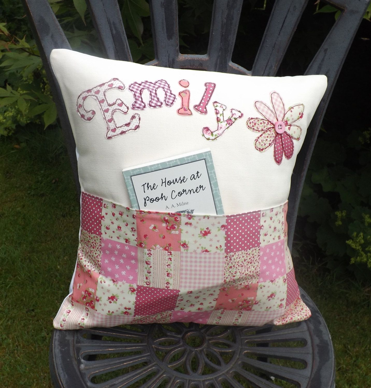 story book cushion personalised with front pocket by