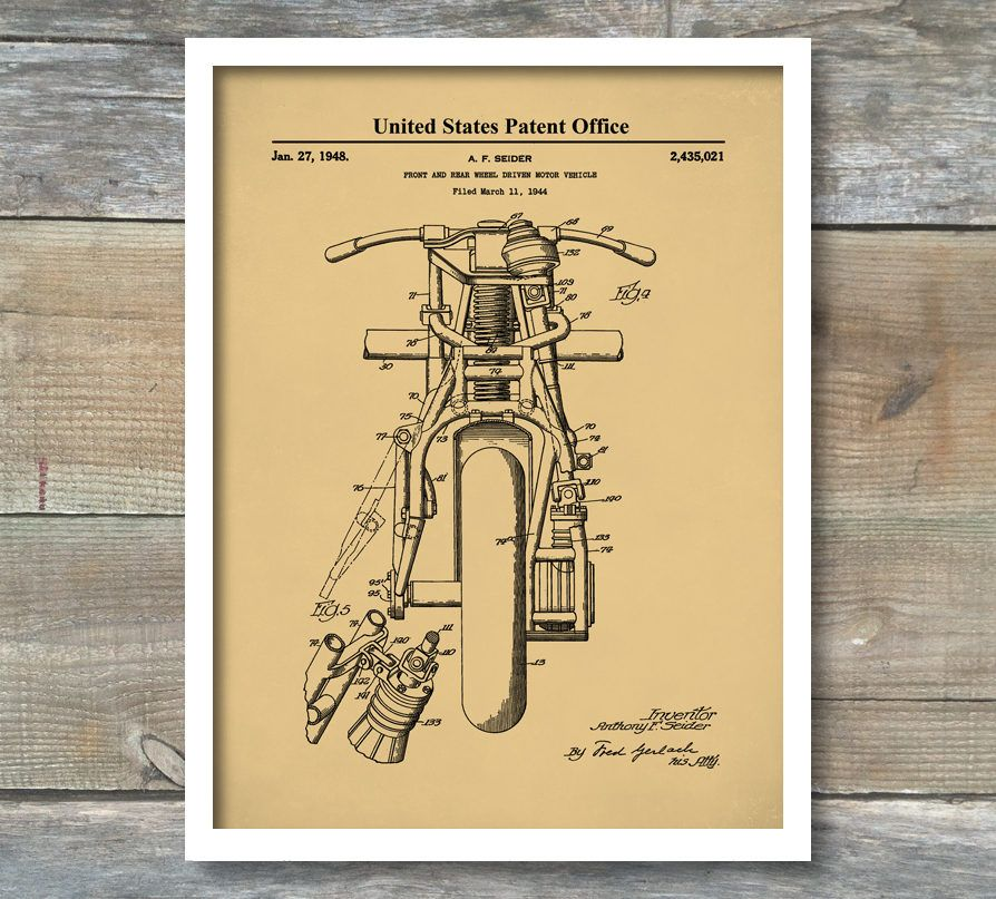 Indian motorcycle poster front and rear wheel driven motorcycle indian motorcycle poster front and rear wheel driven motorcycle patent art motorbike blueprint art malvernweather Gallery