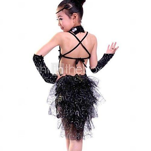 60b7a9a8b Latin Dance Dresses Performance Polyester   Lycra Sequin   Tassel ...