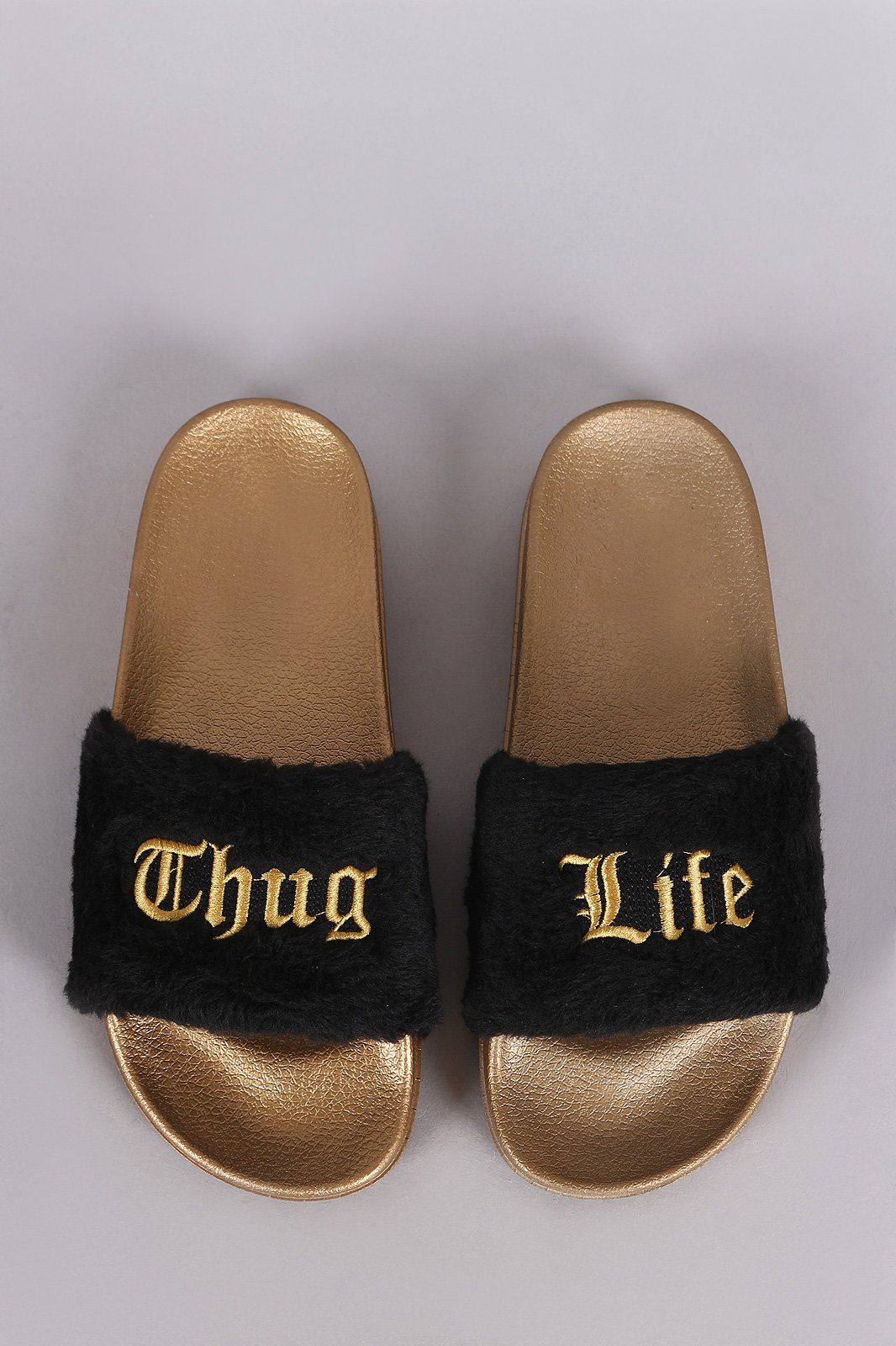 Thug Life Faux Fur Slide Sandal | Šhöêś in 2019 | Faux fur
