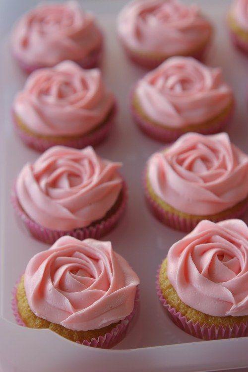 rose peach vanilla cupcakes