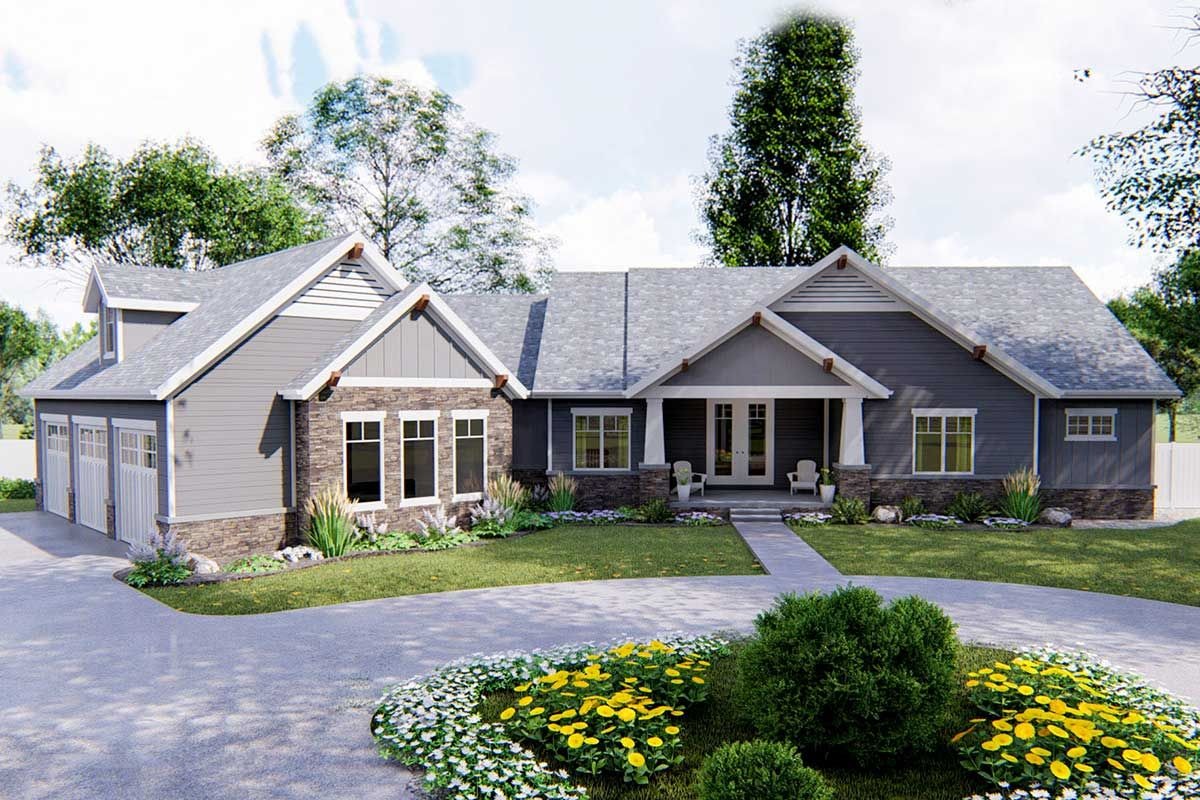 Plan 62643dj 2 Bed Craftsman Ranch With 3 Car Garage In 2020 Craftsman Style House Plans Craftsman House Craftsman House Plans
