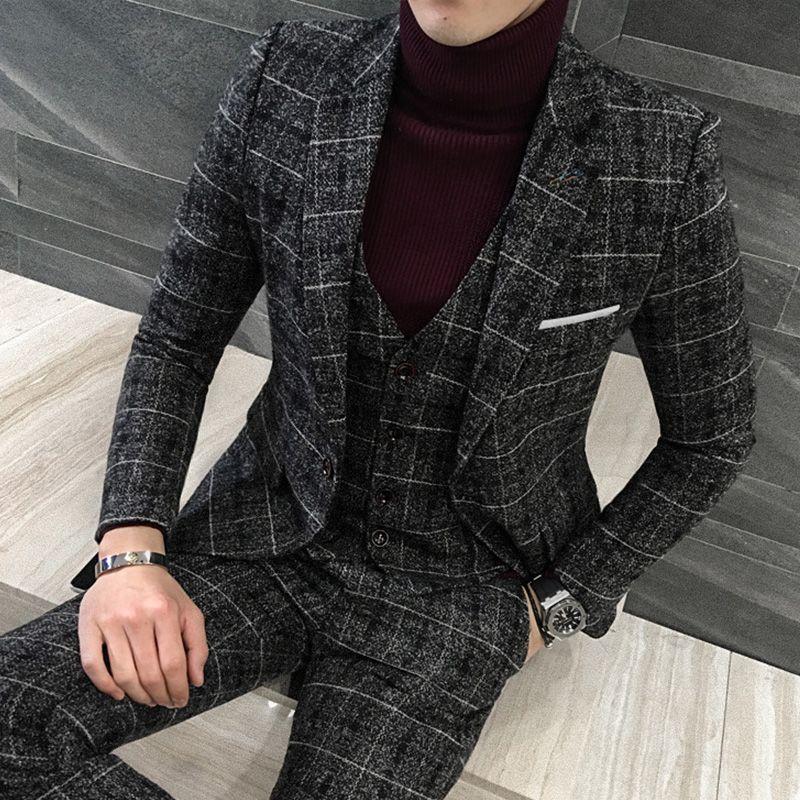 70d3d842a1119 Aliexpress.com : Buy 3pcs(Blazer+Vest+Pant) Men Suits Korean Plaid ...