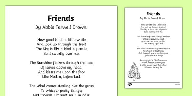 friends by abbie farwell brown poem print out oral language english teaching resources. Black Bedroom Furniture Sets. Home Design Ideas