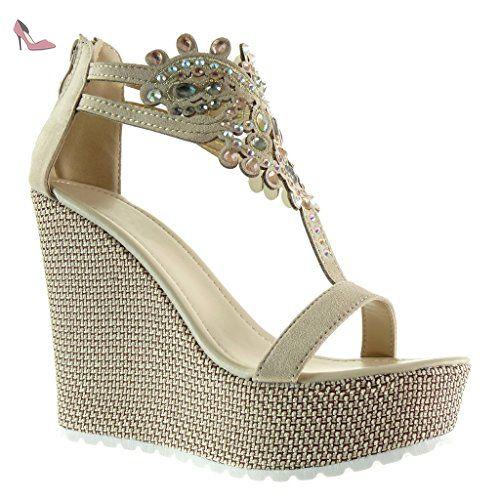 Angkorly - Chaussure Mode Sandale salomés plateforme femme bijoux brodé Talon compensé plateforme 13 CM - Rouge - 168-1 FSx0lpDI