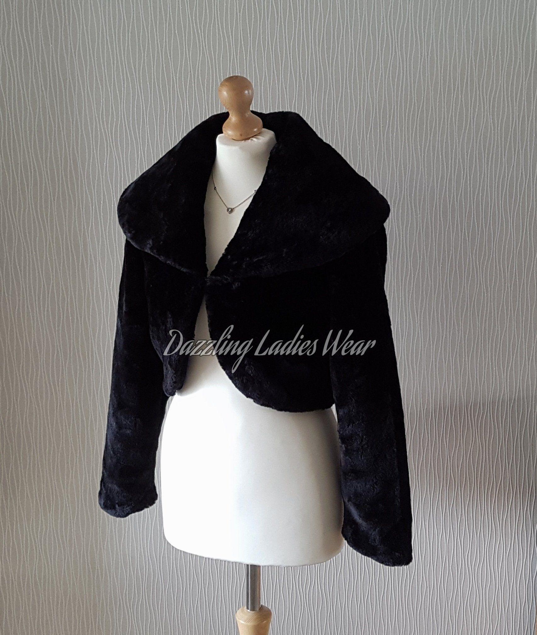 Navy//Blue Faux Fur Bolero Jacket//Shrug//Stole//Shawl//Wrap Large Collar Satin Lined