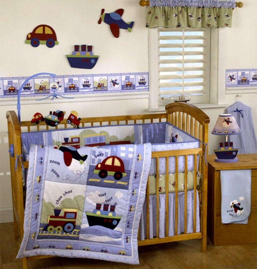 Exceptional Baby Nursery : Travel Time Baby Boy Nursery Themes Blue Bedding Aircraft  Cars Railroad Wood Floor Cute Table Lamp Wood Crib Baby Boy Nursery Themes:  Cool ...