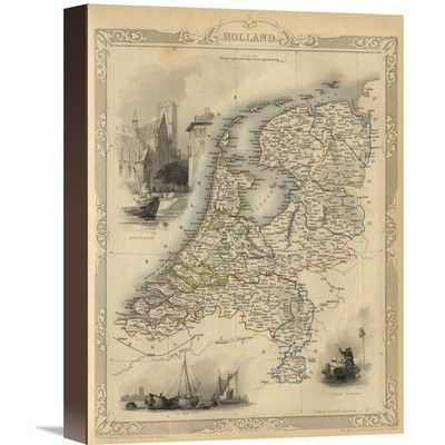 """Global Gallery Holland, 1851 by R.M. Martin Graphic Art on Wrapped Canvas Size: 16"""" H x 12"""" W x 1.5"""" D"""
