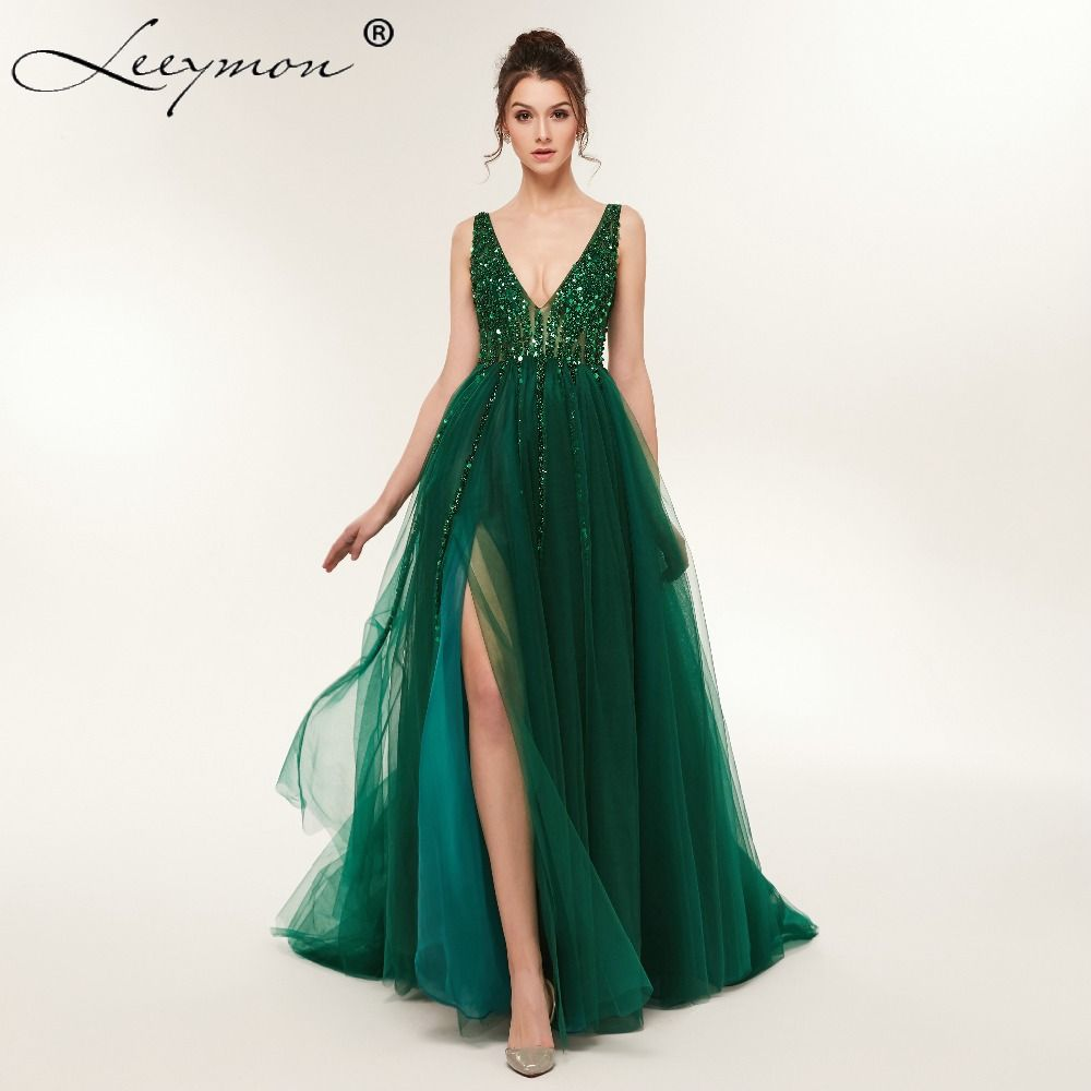aa5c4fb851a22f Plus Size High Side Split Green Prom Dress A-Line Tulle Long Party Dress  Beaded Sequined Sexy Open Back Formal Evening Dresses Price  220.78   FREE  Shipping ...