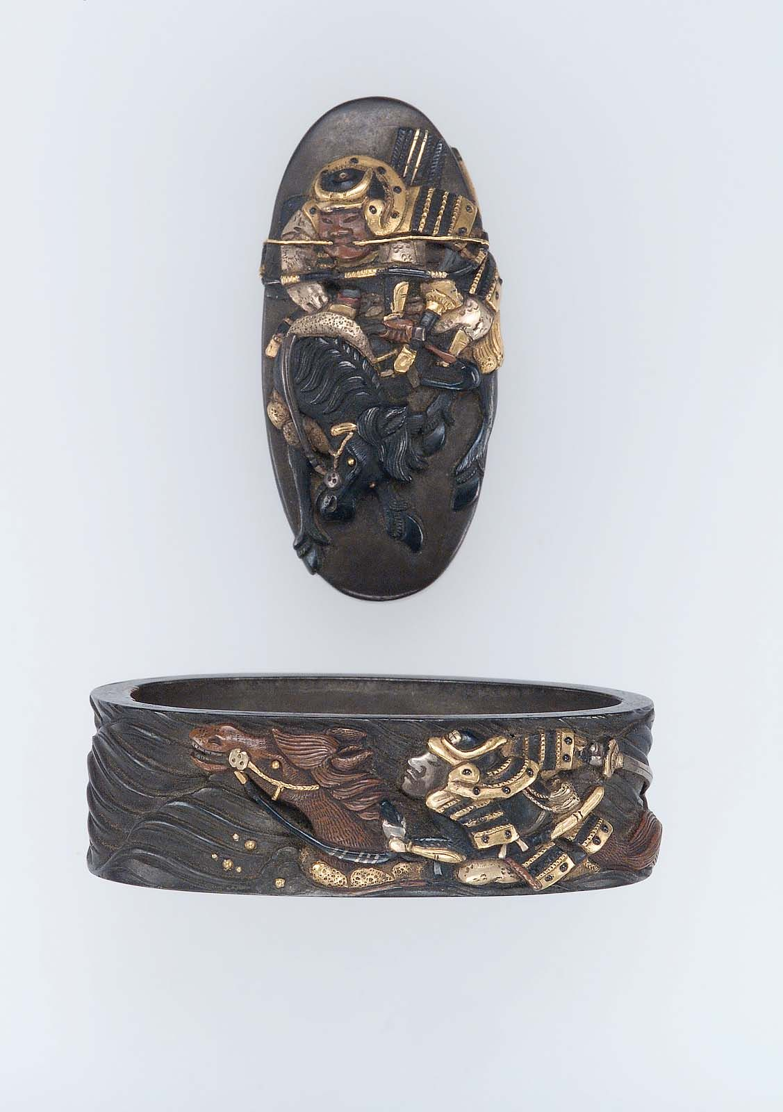 Fuchi-kashira with designs of the race across the Uji River. Japanese Edo period late 18th–early 19th century http://www.mfa.org/collections/object/fuchi-kashira-with-designs-of-the-race-across-the-uji-river-9703