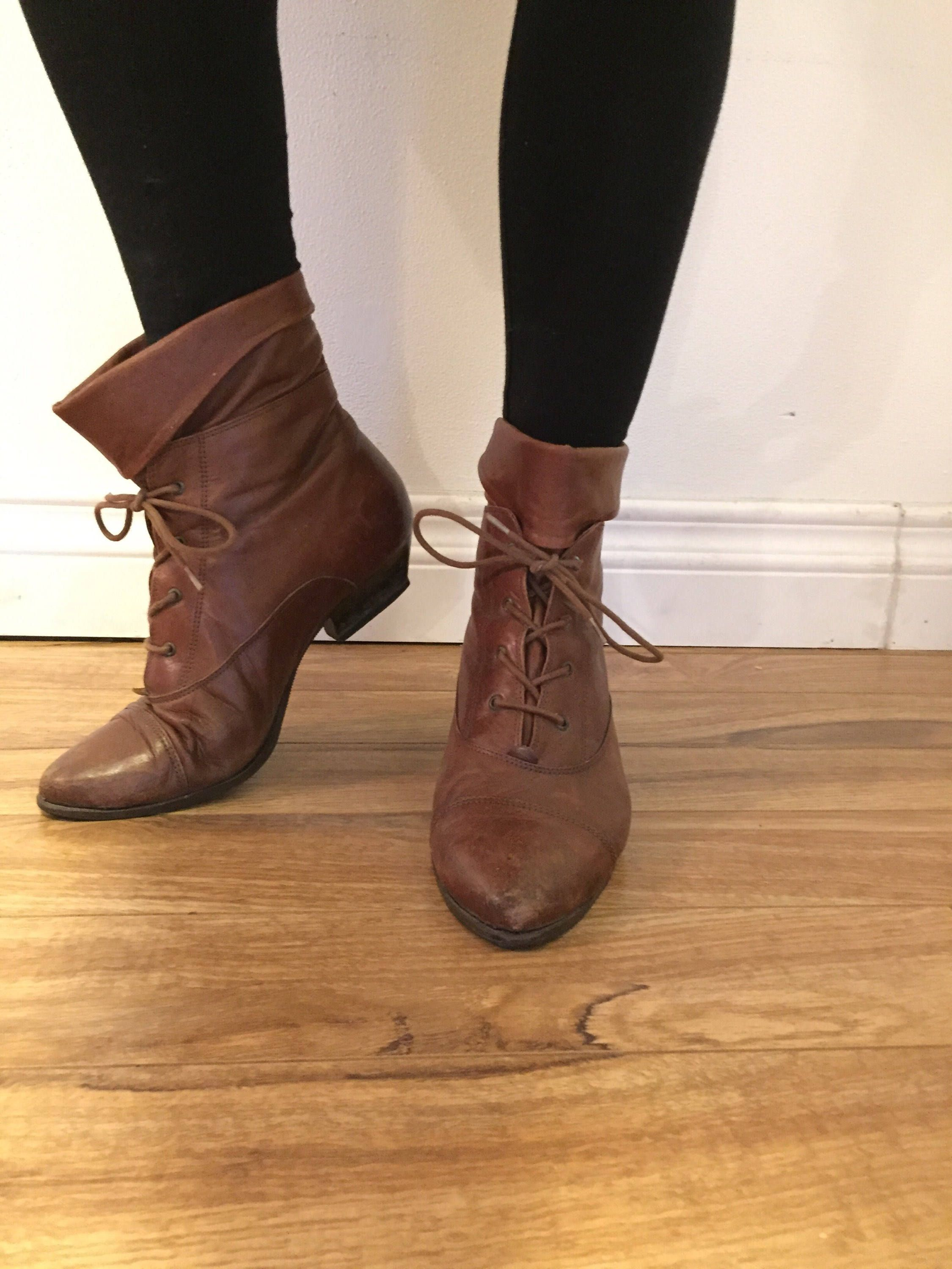bc605dbba12ee Ankle Boots, 90s Brown Boots, Lace Up Boots, Flat, Pointed Toe ...