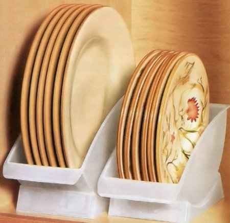 50 Genius Storage Ideas Consider investing in a few dinner plate cradles to keep plates upright and easy to pull out of the cupboard. & Take advantage of vertical space by placing dishes in a dish cradle ...