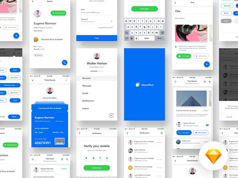 Squarepost UI Kit - sketch | UI | App design, Ui kit, App ui design