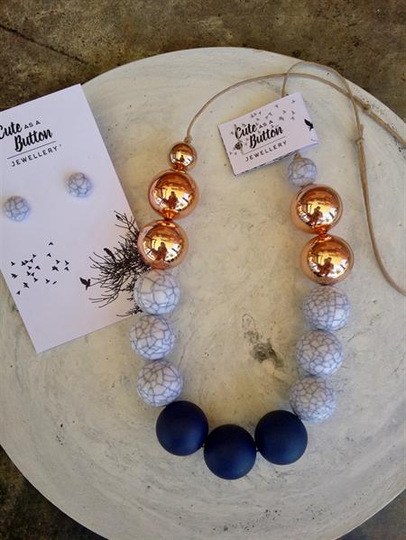 Marbleous Jewellery Set - Navy/Marble/RoseGold