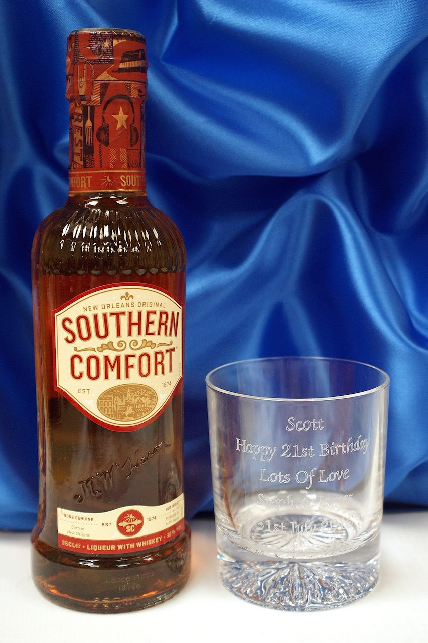 ENGRAVED GLASS & 35CL SOUTHERN COMFORT Southern Comfort, Alcohol Gifts, Whiskey Bottle, Gift