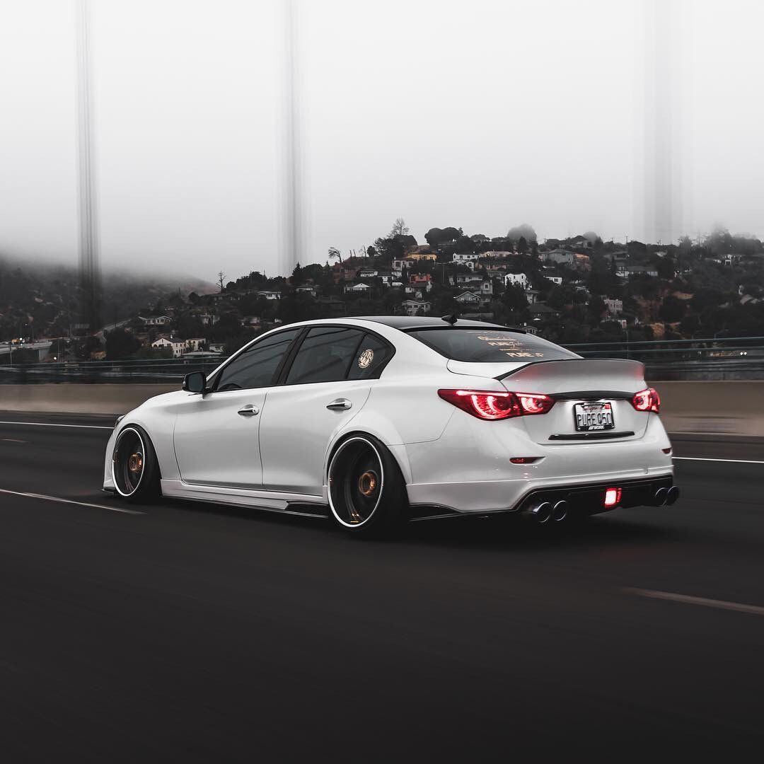 Infiniti White Infiniti Sedan Slammed Lowlife Four