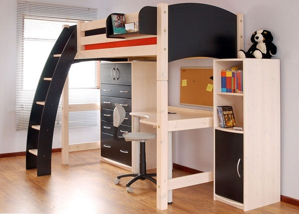 Bedroom, Modern Full Size Loft Bed For Kids Picture Timber Floor ...