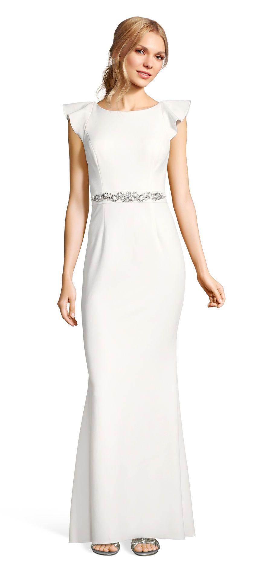 Ruffle sleeve crepe gown with open back and jeweled sash wedding