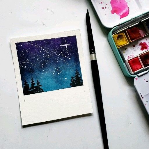 Watercolor Night Sky Art Kunst Design In 2020 With Images