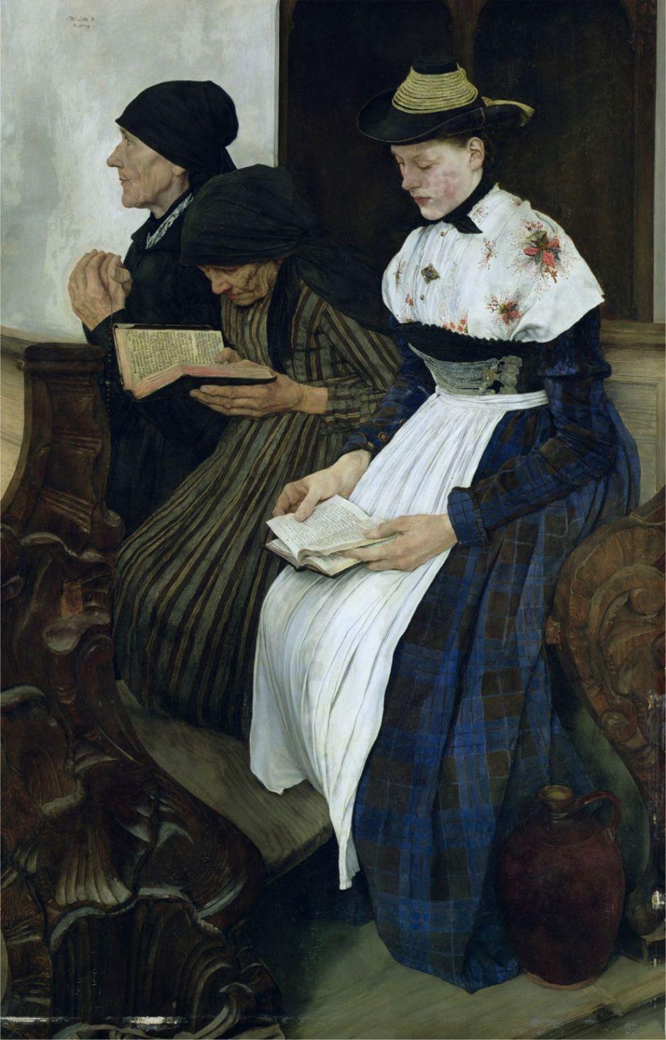 Wilhelm Leibl (1844–1900), Drei Frauen in der Kirche (Three Women in Church) (1882), oil on mahogany wood, 113 × 77 cm, Kunsthalle Hamburg, Hamburg. Wikimedia Commons.