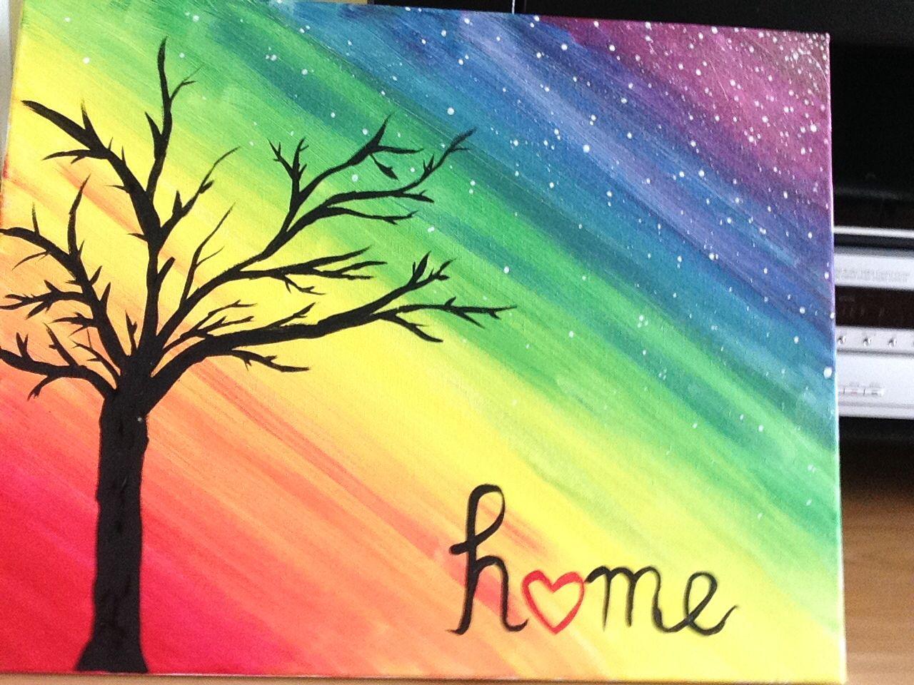 Rainbow Canvas Art Tree Tempera Paint Easy Canvas Art Handmade Home Diy Canvas Art Easy Easy Canvas Art Rainbow Painting