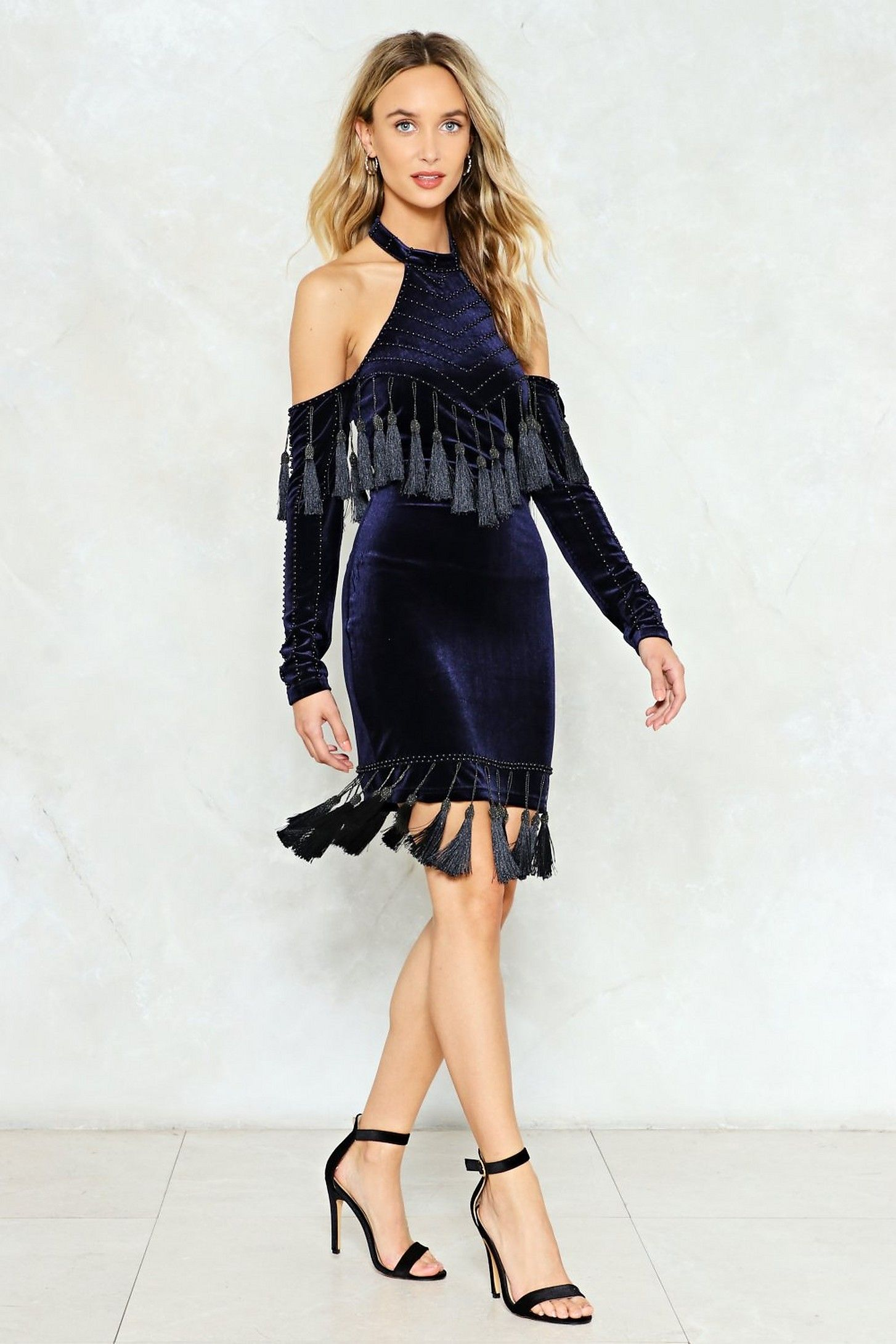 620cd70d8f6 Make an Entrance Velvet Tassel Dress in 2019