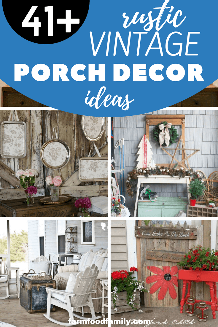 41+ Rustic Vintage Front Porch Decor Ideas On A Budget For Your House #smallporchdecorating
