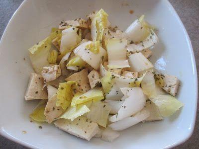 FORNELLI IN FIAMME: SALAD OF MARINATED TOFU AND BELGIAN ENDIVE - insalata di tofu marinato e indivia belga