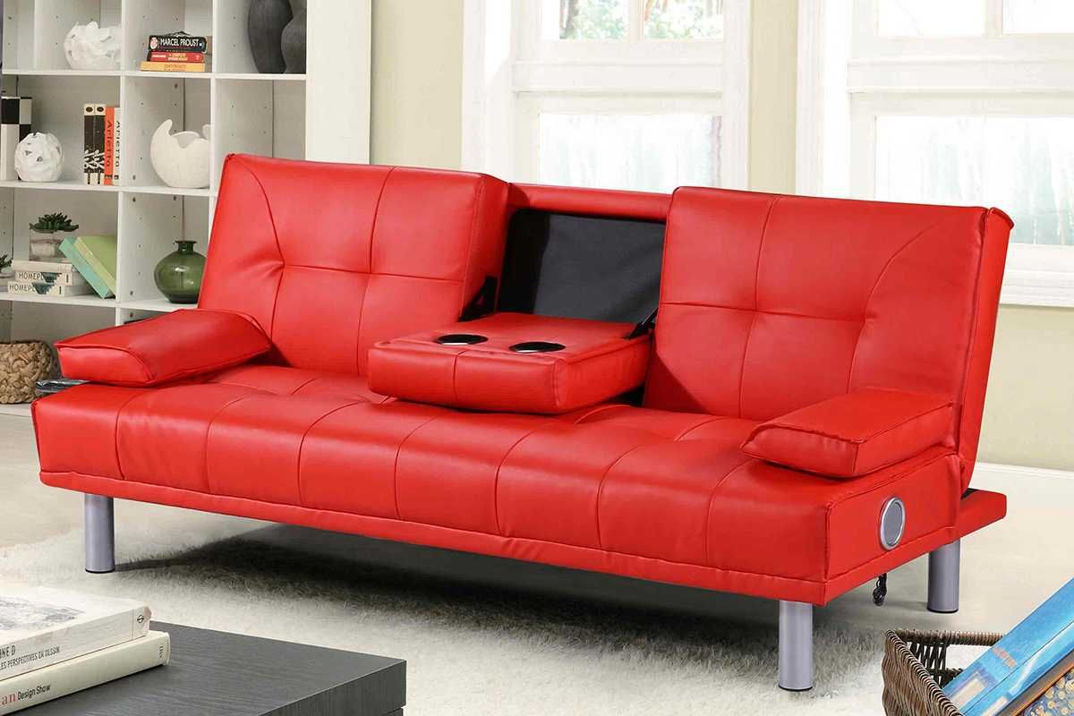 Manhattan Red 2 3 Seater Click Clack Single Sofa Bed Bluetooth Speakers Leather Sofa Bed Cheap Sofa Beds Sofa Bed Red