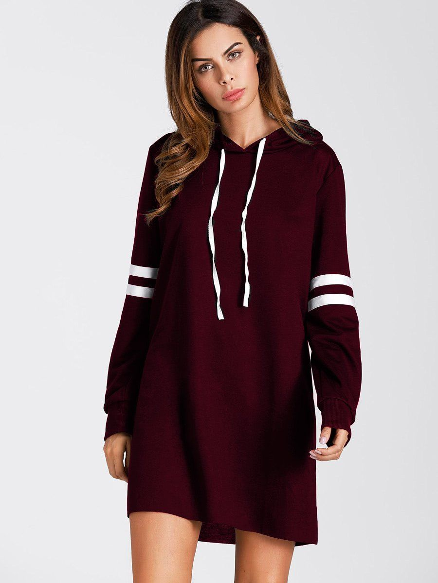 6c8d804d29c0 Varsity Striped Hoodie Dress Burgundy