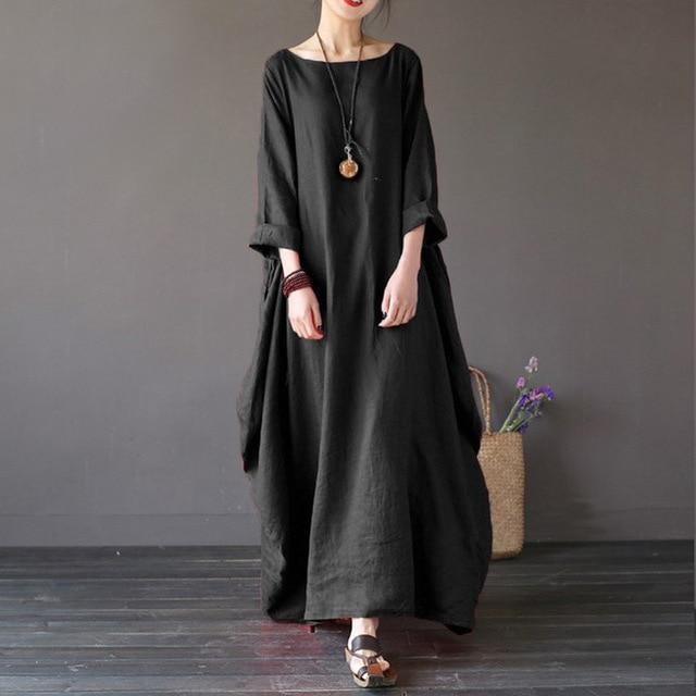 f283adb580 4XL 5XL Plus Size Dresses Elegant Cotton Linen Three-Quarter Sleeve Loose  Long Summer Dress Woman Boho Robe Shirt Maxi Dresses