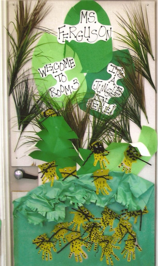 This was the door decoration.  Students made handprint jaguars.