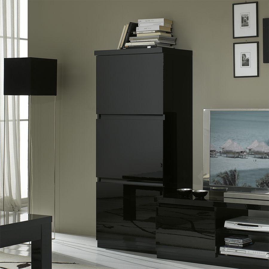 Colonne Noir Laqu Design Sany Meuble De Rangement Salon Pinterest # Meubles Noir Salon