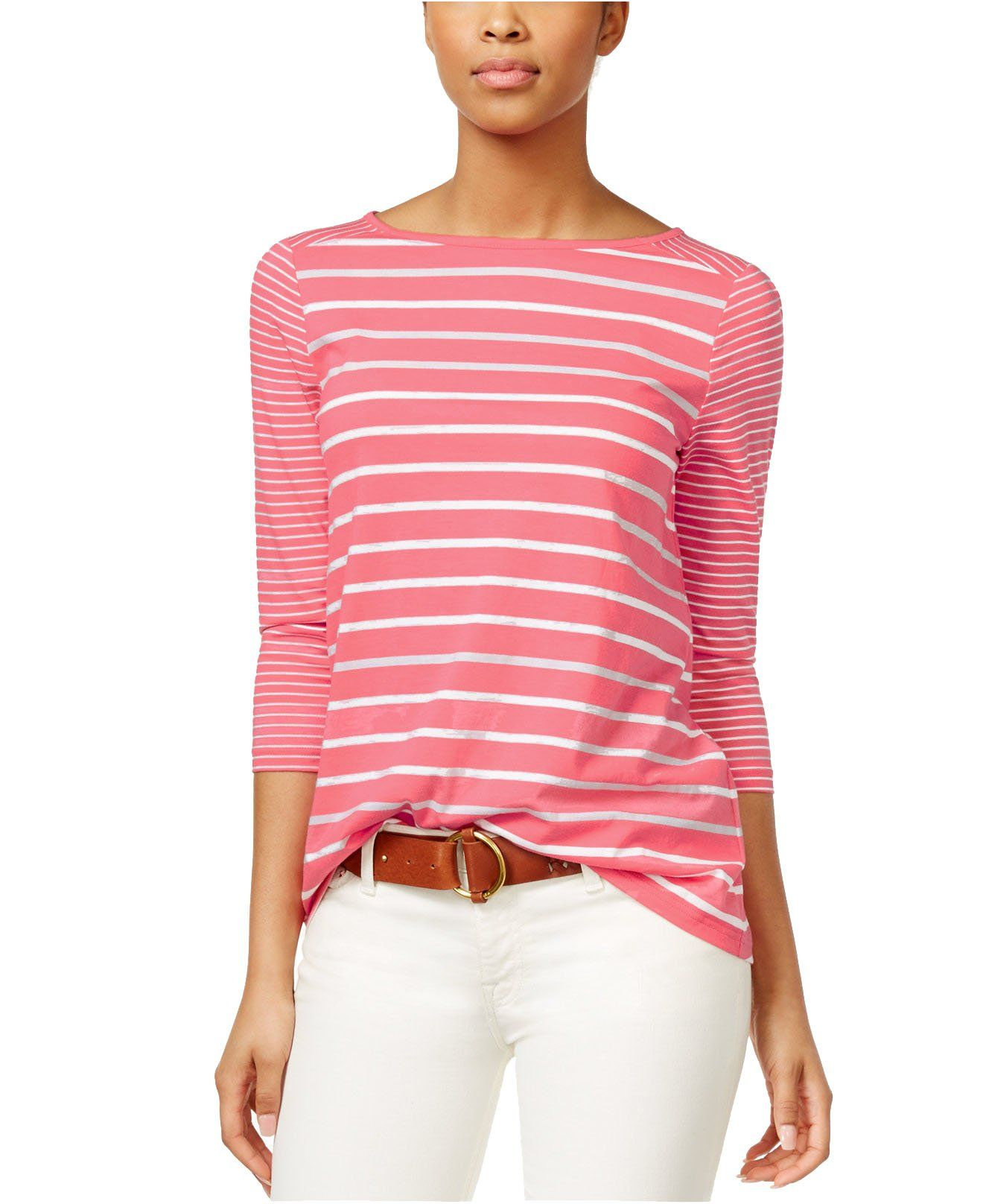 American Living Women\'s Striped Three-Quarter-Sleeve Boat-Neck Top ...