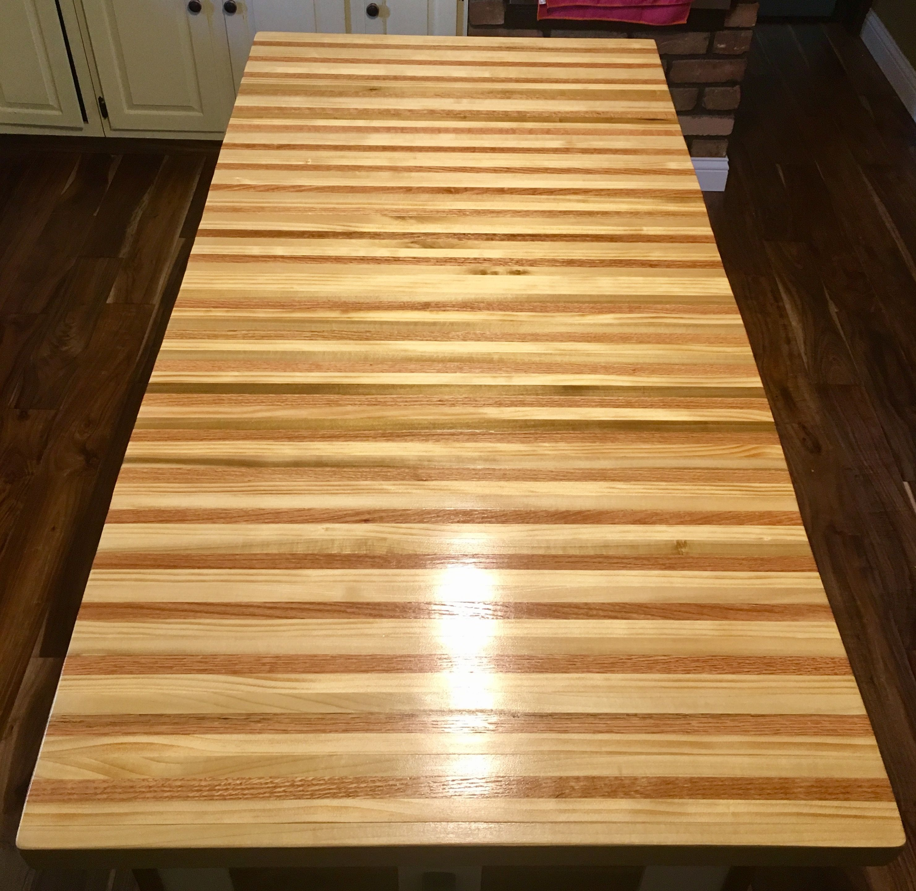custom made countertop for the kitchen island using red oak
