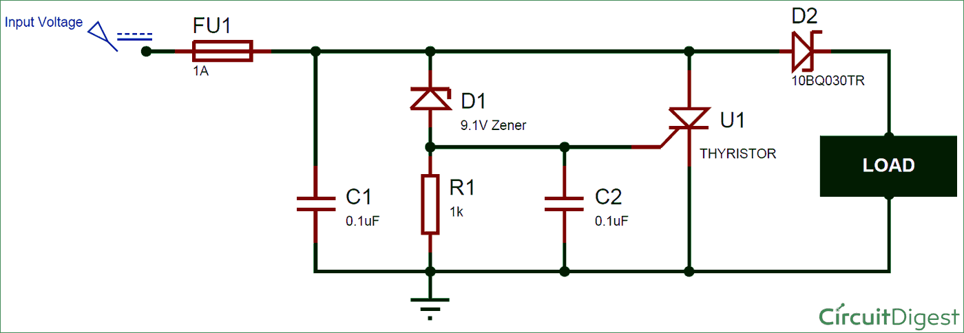 crowbar circuit diagram for overvoltage protection electronic rh pinterest com