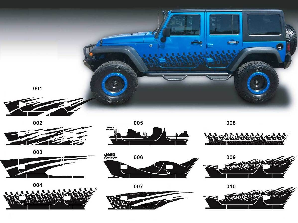 Product jeep decal sticker splash side rocker door graphics 07 17 wrangler jk 4 door
