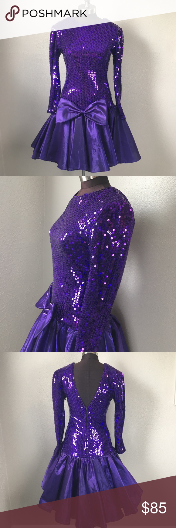 Vintage us sequin purple bow prom dress small sequins prom and