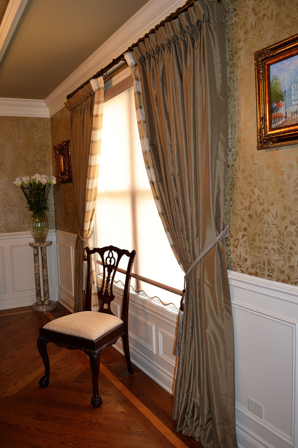 Brandys & Bourg Elegant dining room window treatments ...